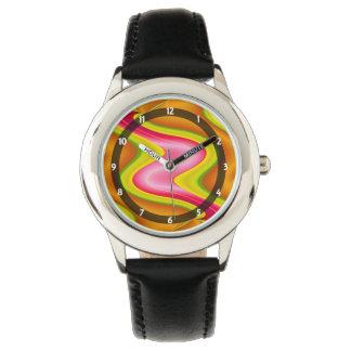明るいピンクの黄色くモダンな抽象芸術 腕時計
