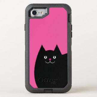 明るいピンクの鼻を持つかわいい黒猫 オッターボックスディフェンダーiPhone 7 ケース