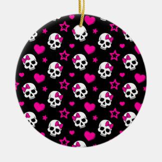 明るいピンクのLoveyのゴシックのスカル セラミックオーナメント