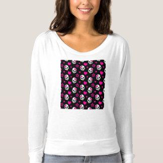 明るいピンクのLoveyのゴシックのスカル Tシャツ