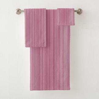 明るいピンクは縞で飾ります バスタオルセット