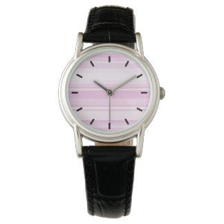 明るいピンクは縞で飾ります 腕時計