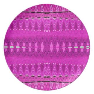 明るいピンクパターン芸術 プレート