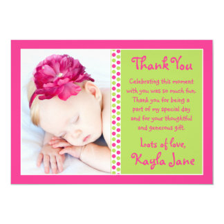 明るいピンク及び緑の水玉模様の写真は感謝していしています カード