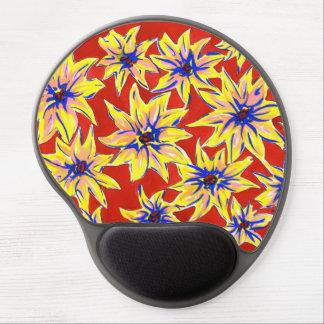 明るいポップアートの花の赤くおよび黄色のゲルのマウスパッド ジェルマウスパッド