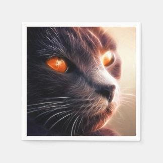 明るいライトのフラクタル猫 スタンダードカクテルナプキン