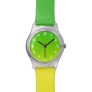 明るいライムおよび緑のグラデーション 腕時計