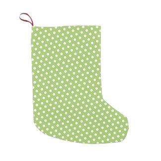 明るいライムグリーンおよび白の水玉模様パターン スモールクリスマスストッキング