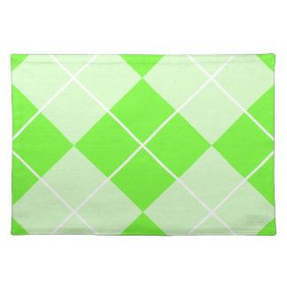 明るいライムグリーンのアーガイル ランチョンマット