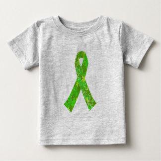 明るいライムグリーンのジグソーパズルパターンリボン ベビーTシャツ