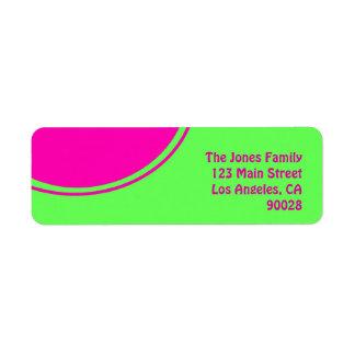 明るいライムグリーンのピンクのモダンな円 ラベル