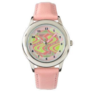 明るいライムグリーンの桃色のオレンジポップアート 腕時計