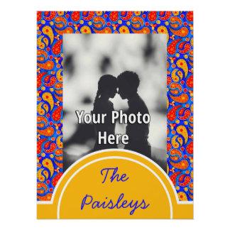 明るいロイヤルブルーのおもしろいのペイズリーのオレンジ赤の黄色 ポスター