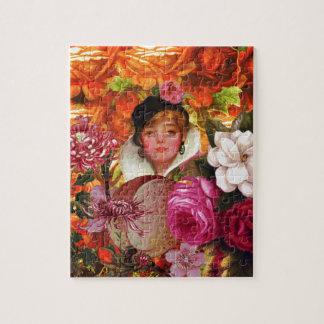 明るいヴィンテージの女性の花園 ジグゾーパズル
