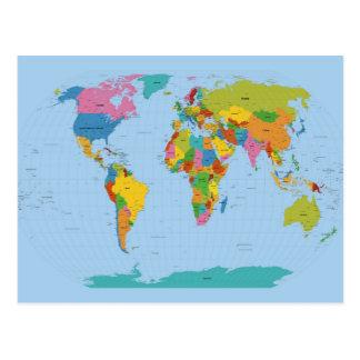 明るい世界地図 ポストカード