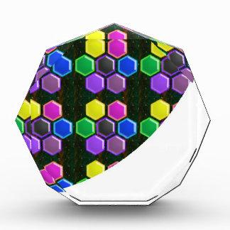 明るい六角形の輝きはGoodLUCKに低価格ボタンをかけます 表彰盾