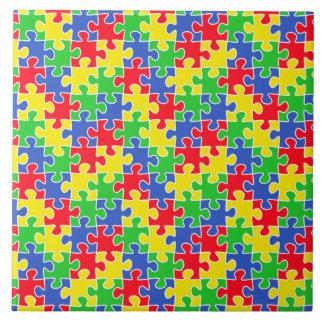 明るい原色のジグソーパズルの部分 タイル