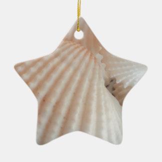 明るい夏の貝殻。 ロマンチックで、エキゾチックな熱帯 セラミックオーナメント