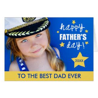 明るい星の父の日の写真の挨拶状 グリーティングカード