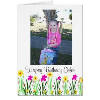 明るい春の花のカスタムなChloeの誕生日プレゼント カード