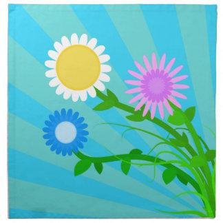 明るい春の花のナプキン ナプキンクロス