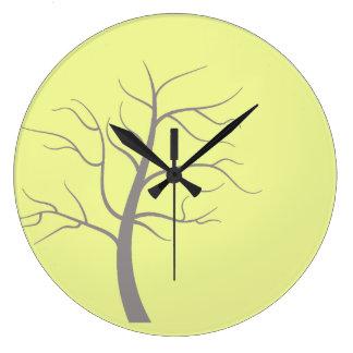 明るい木の最小主義の円形の柱時計 ラージ壁時計