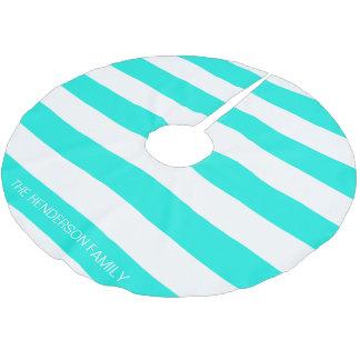 明るい水の白いHorizのプレッピーなストライプ#3のモノグラム ブラッシュドポリエステルツリースカート