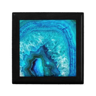 明るい水の青いターコイズのGeodeの鉱物の石 ギフトボックス