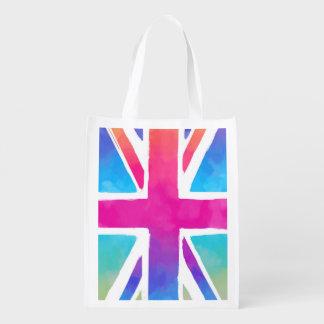 明るい水彩画の英国国旗の旗 エコバッグ