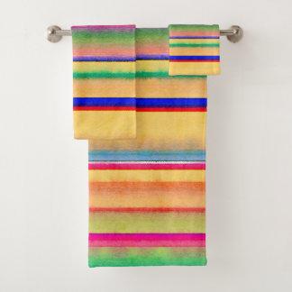 明るい水彩画は縞で飾ります バスタオルセット