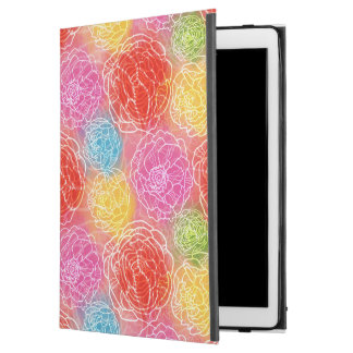"""明るい水彩画花パターン赤く黄色いピンク iPad PRO 12.9"""" ケース"""
