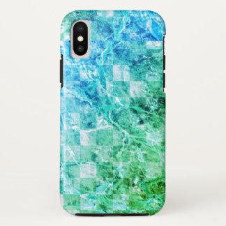 明るい海の青緑のモダンの大理石 iPhone X ケース