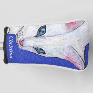 明るい淡いブルーの目を持つ美しく白い猫 ゴルフヘッドカバー