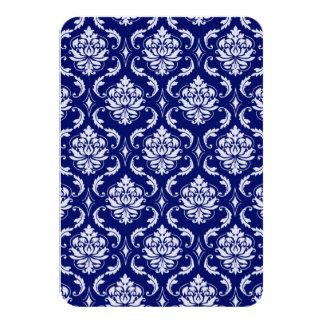 明るい濃紺のダマスク織パターン カード