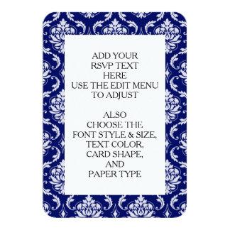 明るい濃紺のダマスク織パターン 8.9 X 12.7 インビテーションカード