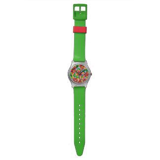 明るい熱帯花の水彩画は第28腕時計よろしいです 腕時計
