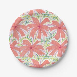 明るい熱帯花の紙皿 ペーパープレート