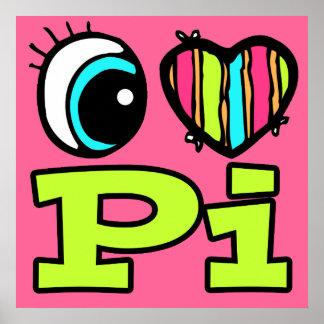 明るい目のハートI愛Pi ポスター