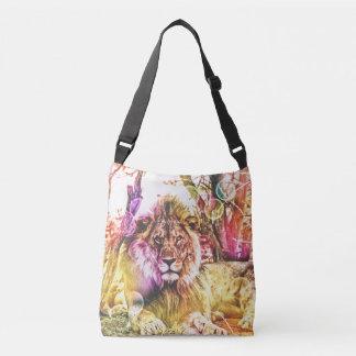 明るい着色されたライオンのバッグ クロスボディバッグ