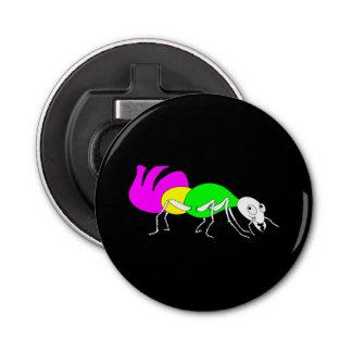 明るい着色された腹部を搭載するかわいい漫画の蟻 栓抜き