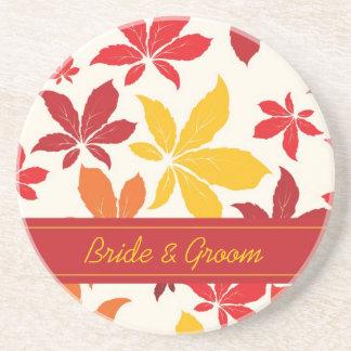 明るい紅葉の結婚 ドリンクコースター