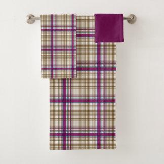明るい紫色及びクリーム色の格子縞 バスタオルセット