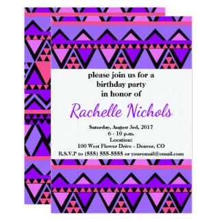 明るい紫色、青い、ピンクの80年代のジグザグパターン カード