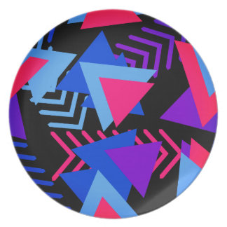 明るい紫色、青い、ピンクの80年代の背景パターン プレート