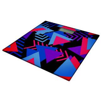 明るい紫色、青い、ピンクの80年代の背景パターン 体重計
