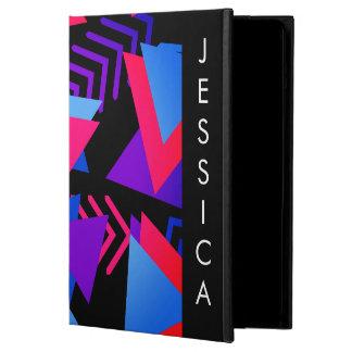 明るい紫色、青い、ピンクの80年代の背景パターン iPad AIRケース