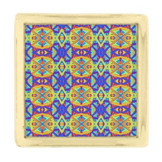 明るい色のおもしろいパターン ゴールド ラペルピン