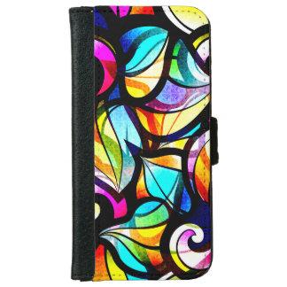 明るい色の抽象芸術の渦巻のステンドグラスの一見 iPhone 6/6S ウォレットケース