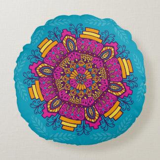 明るい色の曼荼羅の円形の枕 ラウンドクッション