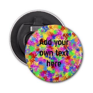 明るい色の背景の(ばちゃばちゃ)跳ねるのペンキの虹 栓抜き